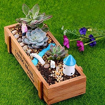 N/ hfjeigbeujfg Miniature Fairy Garden Wood Planter Box Garden Yard Rectangle Flower Succulent Container Plant Pot - Wood Color : Garden & Outdoor