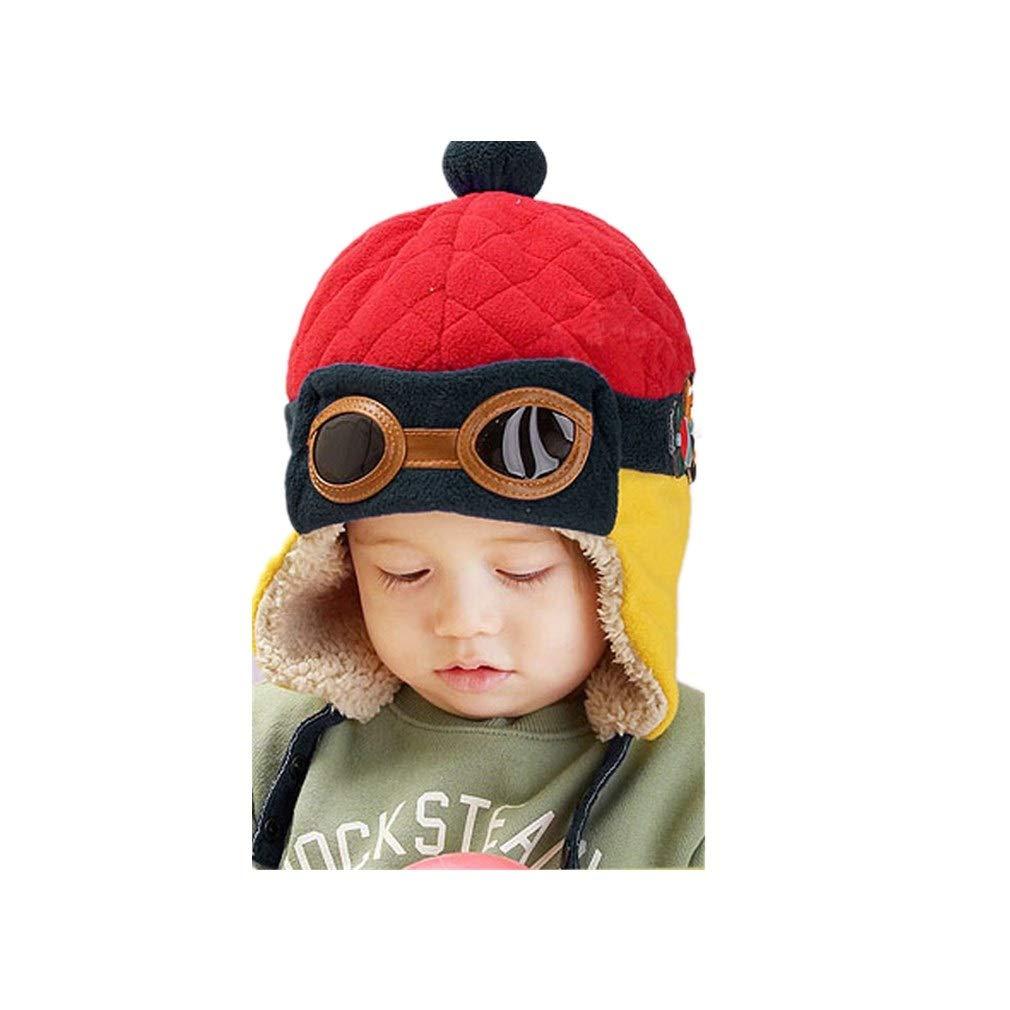 UOMOGO Cool Cappello Pilota del Bambino, Invernale Cappa Calda Beanie Earflap Cappello per i più Piccoli Ragazzino Aviatore Pilota (Blu)