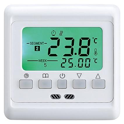 Vingo® LCD Termostato Digital Programable Sonda de suelo empotrado con 3 M Sensor, Corriente