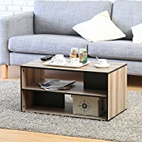 FITUEYES Wood Mobile Coffee Table with Storage Shelves Oak BCT308001WB