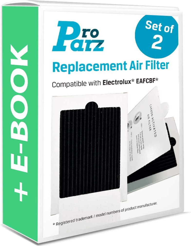 Refrigerator Air Filter Replacements - Pack of 2 Filters for Electrolux, Frigidaire - Includes Bonus E-Book - Replaces Part EAFCBF, PAULTRA, SCPUREAIR2PK