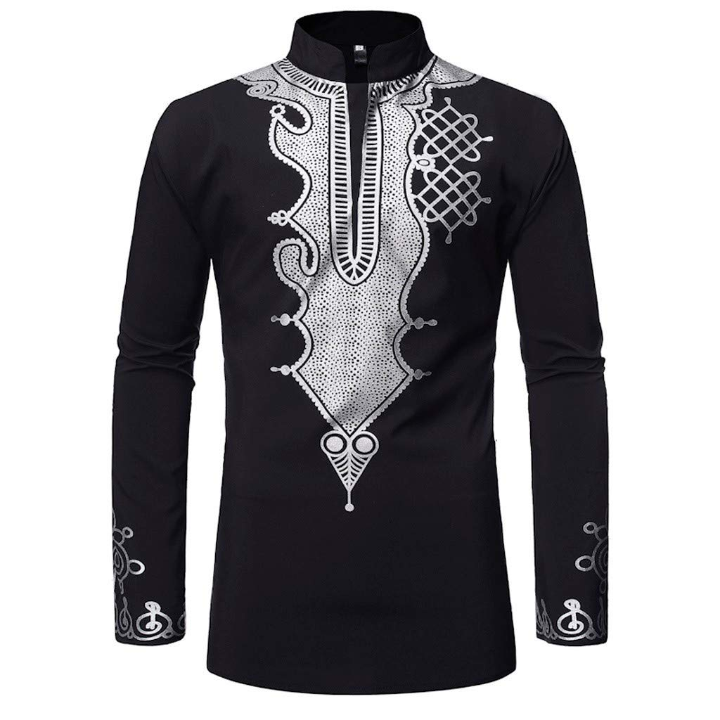 Bsjmlxg Men Hot New Vintage African National Characteristics Printed Long Sleeve Stand Collar T-Shirt Pop Top Slim Blouse Black by Bsjmlxg