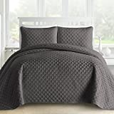 Oversized King Size Quilt Sets Comfy Bedding 3-Piece Bedspread Coverlet Set Oversized and Prewashed Lantern Ogee Quilted, Cal King, Gray