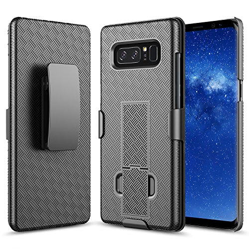 Galaxy Note 8 Case, Note 8 Holster Case, NageBee Combo Shell & Holster Case Super Slim Case w/ Built-In Kickstand [Swivel Belt Clip] For Samsung Galaxy Note 8 – Black