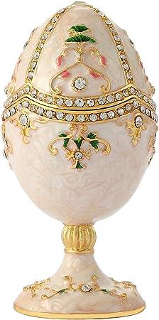 QIFU Vintage Faberge Huevo - Caja de joyería decorativa pintada a ...