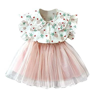 PinkLu Vestido Falda Conjunto Niña piña Manga voladora Capa Falda ...