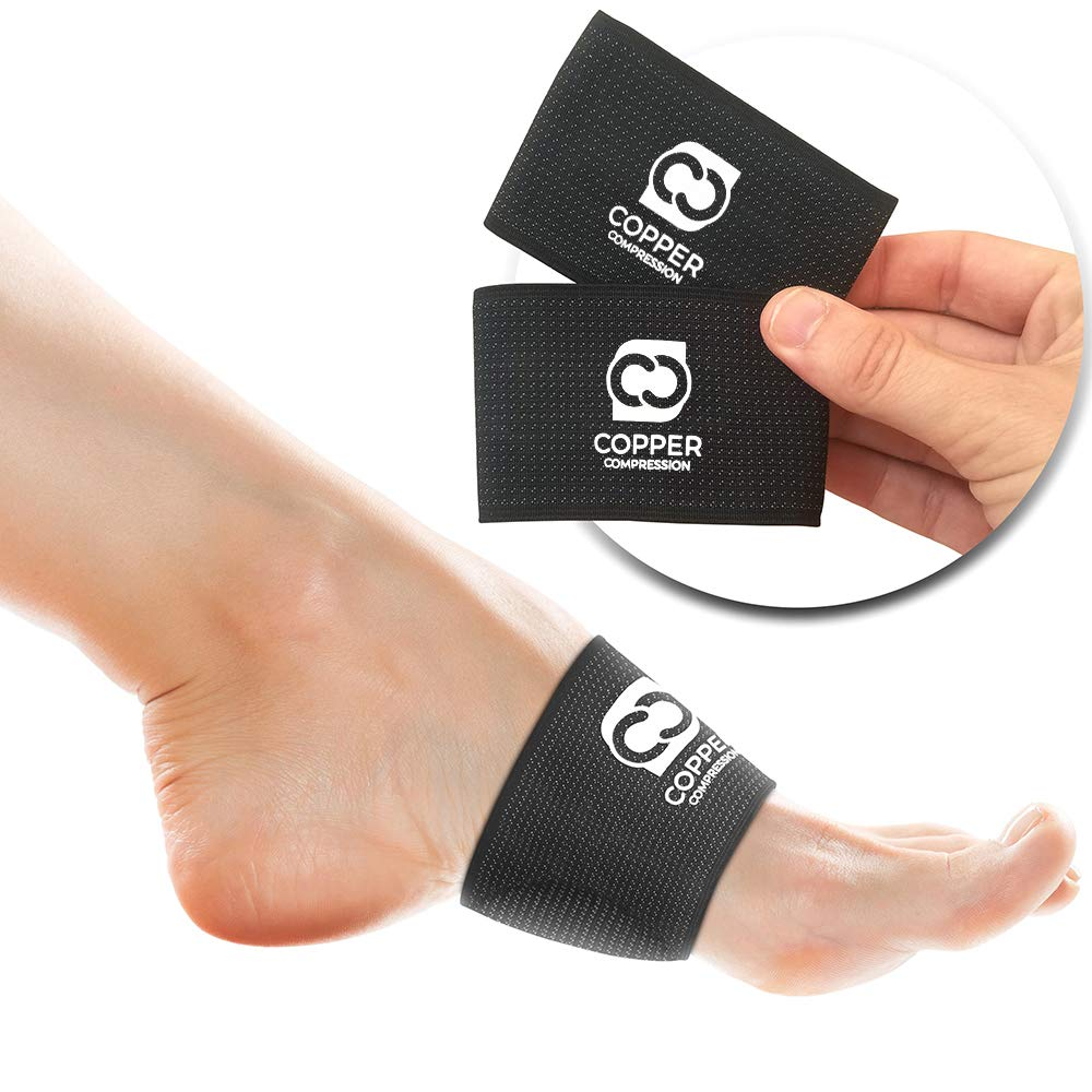 Copper Compression Padded Arch Support - 2 Padded Plantar Fasciitis Sleeves. Guaranteed Highest Copper Arch Supports with Pad. Planter Fasciitis Support Braces for Foot Care, Feet Pain, Flat Arches by Copper Compression