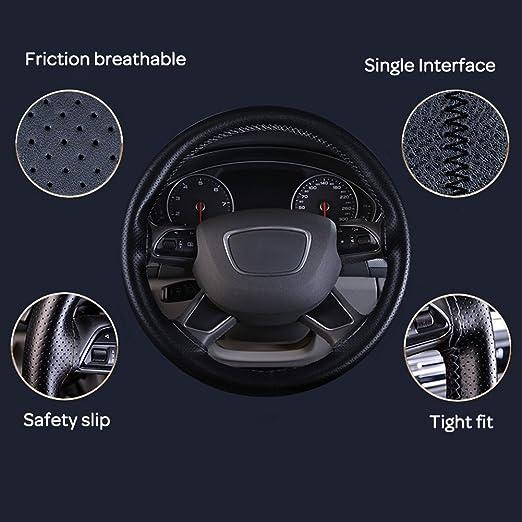 XFAY Universale Coprivolante //Coprivolante Auto DIY in PU Microfibra copri volante dellautomobile con aghi e filo 40 grigio