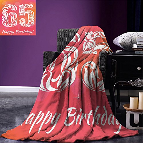 Price comparison product image smallbeefly 65th Birthday Digital Printing Blanket Greeting Card Inspired Design with Font of Swirls and Curls Abstract Summer Quilt Comforter Pink Orange White