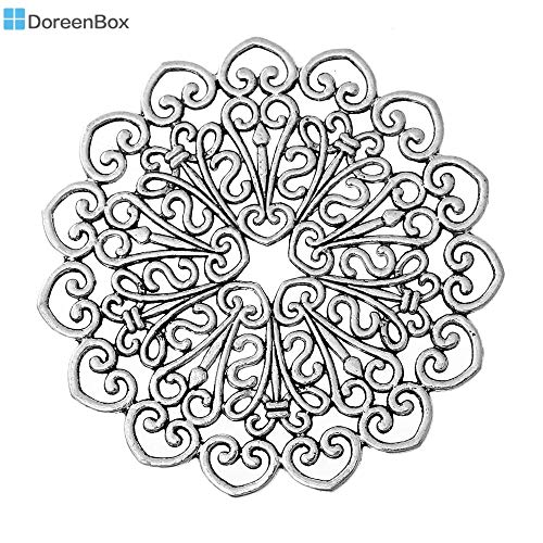 BSNOVT Filigree Stamping Embellishments Findings Round Antique Silver Hollow Pattern 53mm(2 1/8
