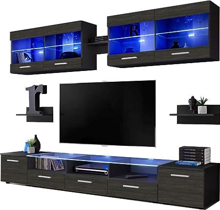 ExtremeFurniture Flash Mueble para TV, Carcasa en Blanco Mate/Frente en Madera Carbono Mate + LED Azul: Amazon.es: Hogar
