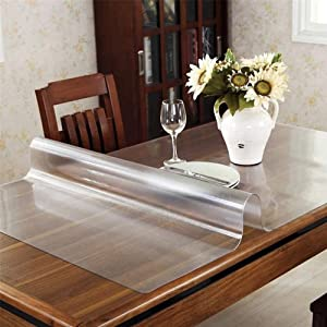 Leffora Custom 1.5mm Thick Frosted Table Cover Protector 36 x 96 Inch Waterproof PVC Protective Table Pad Transparent Mat for Coffee Table, Dining Room Table, Office Desk, End Table/Night Stand