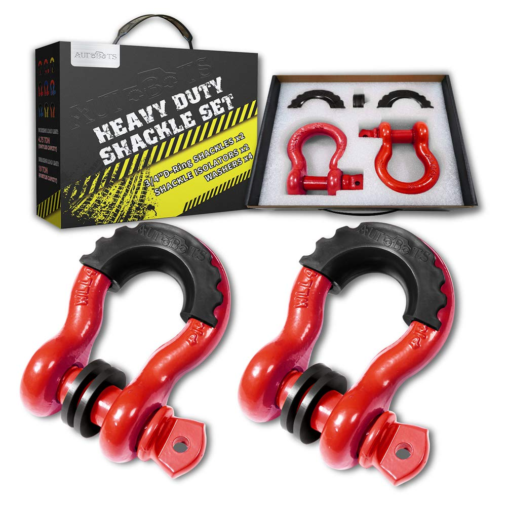 AUTOBOTS Shackles 3/4'' D-Ring Shackle (2 Pack), 41,887Ib Break Strength Tow Shackle (Red) with 7/8'' Pin, 2 Black Isolator and 4 Washers Kit, Heavy Duty D-Ring for Off-Road Jeep Vehicle Recovery by AUTOBOTS