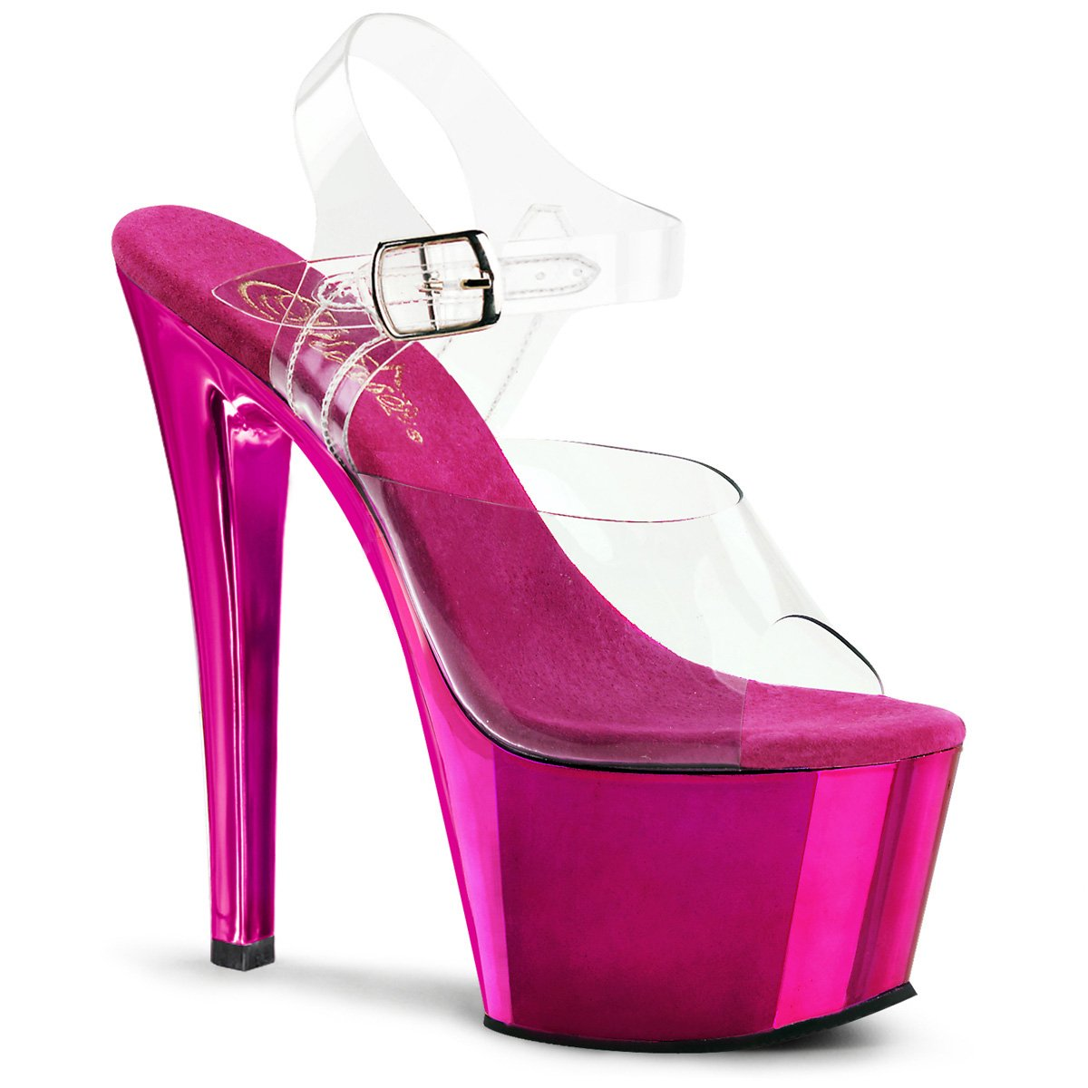Pleaser Sky-308 - Sandalias con Plataforma Mujer 12 B(M) US|Clear/Hot Pink Chrome