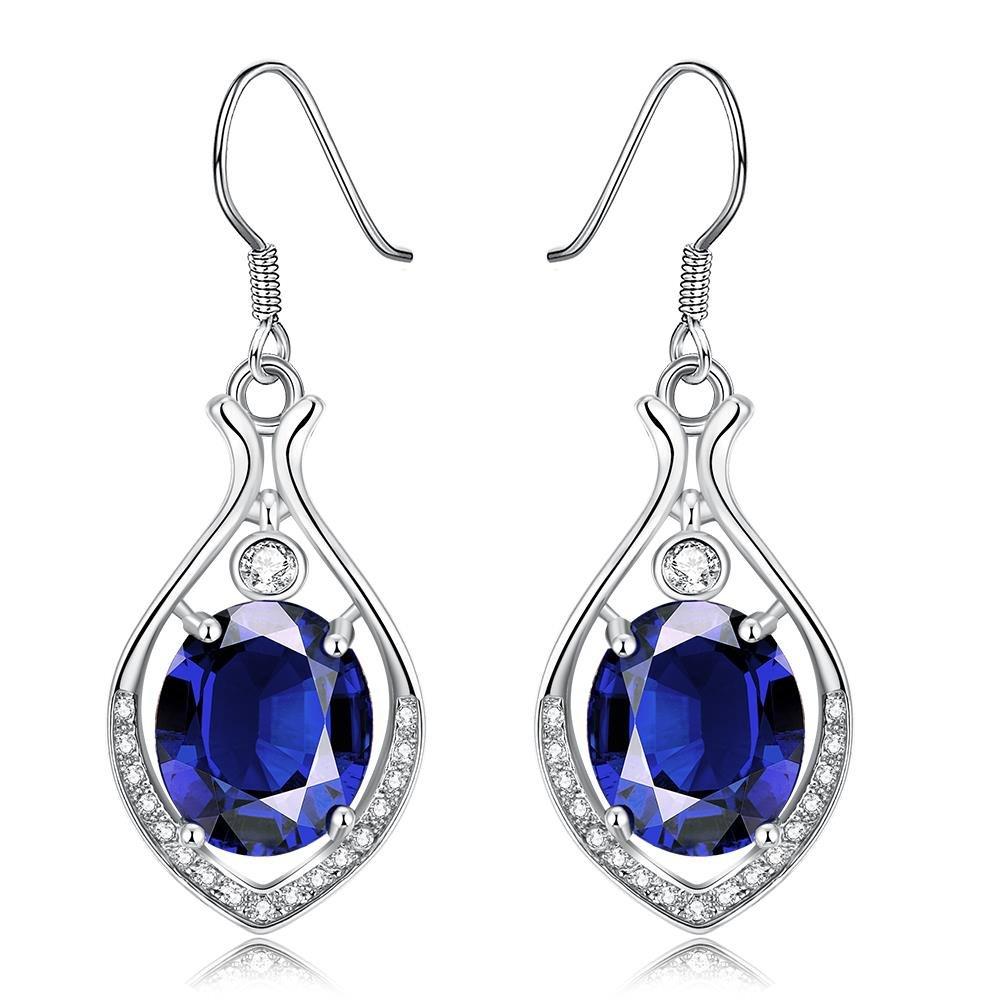 Dangle Earrings,Wonvin 18K White Gold Plated Blue Crystal Drop Hook Dangle Earrings for Women Jewelry by Wonvin