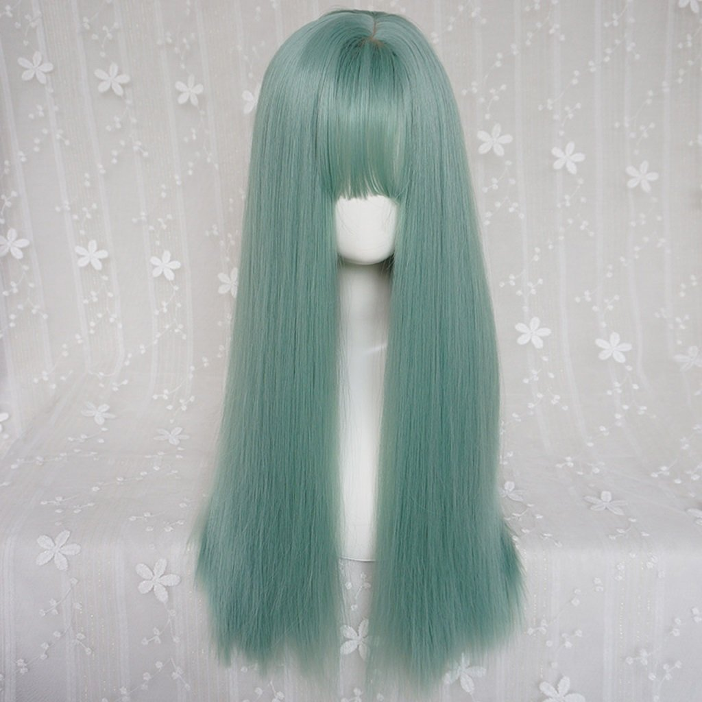 HUACANG Women's Green Long Straight Hair Wig Heat-Resistant top Cosplay Party Masquerade Wig, Flat Mouth Fringe Daily use Party Wig