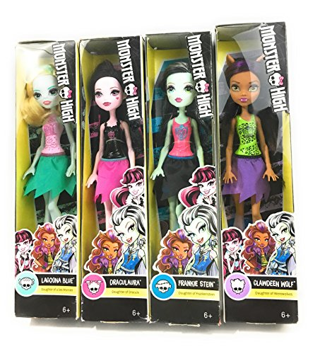 Mattel Monster High 4 Female Dolls High School Characters From the Monster High franchise Tv Series bundle Frankie Stein Lagoona Blue Clawdeen Wolf Draculaura