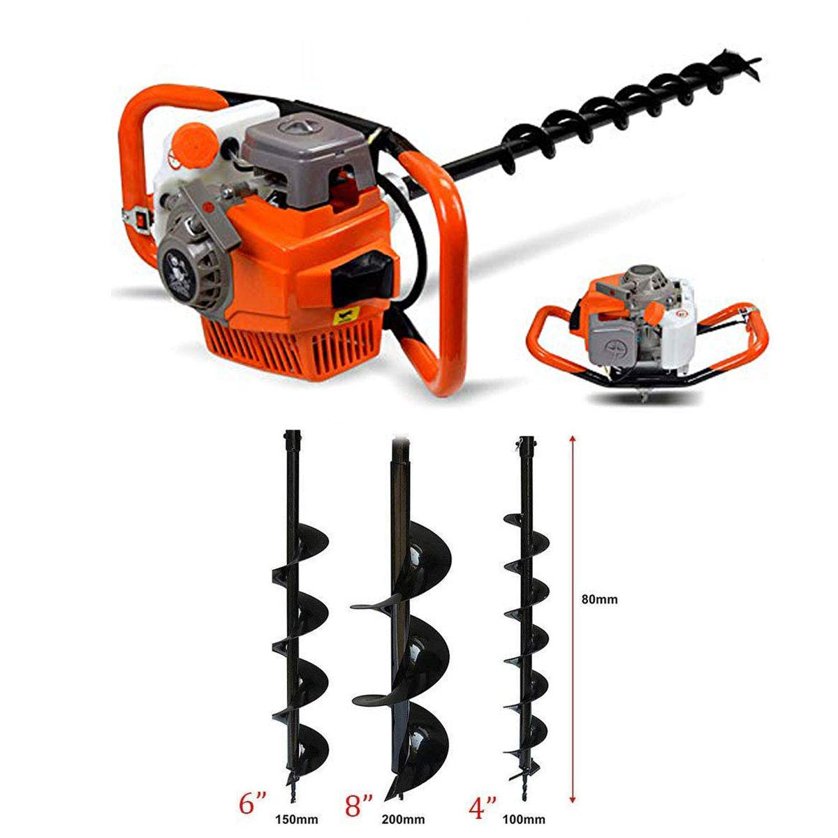 """52CC Petrol Power Post Hole Digger Earth Auger Drill Fence Borer /& 4/"""" 6/"""" 8/"""" Bits"""