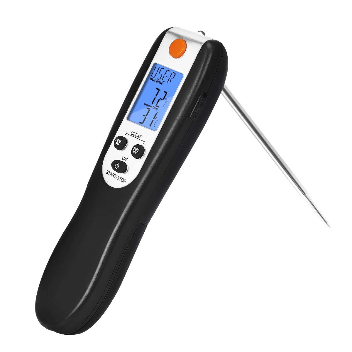 NEXT-SHINE Meat Thermometer Digital Instant Read Internal Probe Cooking Thermometer with Collapsible and Temperature Control Timing for Food/Grill/Fry/Barbecue/Candy, Black