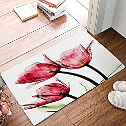 Chic D Red Tulip Flowers Florals Indoor Doormat Non-slip Rubber Floor Welcome Mats Bath Rug Bathroom Mat 18W X 30L Inches