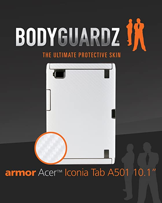 BodyGuardz BZ-ACWT5-0911 Armor Carbon Fiber Skin Protection with Screen Protector for Acer Iconia Tab A501 (White)