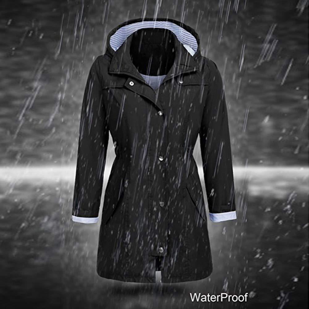 Susenstone Imperm/éAble Manteau /à Capuche Long Femme De Pluie Trench Capuche /à La Mode Femme Manteau De Pluie Raincoat Hoodie Jacket Waterproof