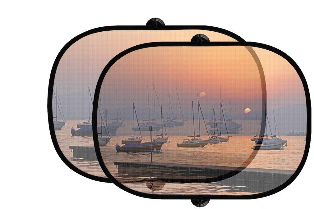 Sailing Boats Sunset 2個折りたたみ式自動ウィンドウサンシェードメッシュ B07597ZZKC
