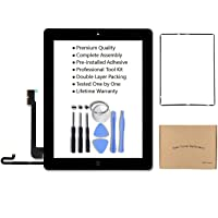 iPad 4 Model A1458, A1459, A1460 Black Screen Touch Screen Digitizer Glass Assembly Includes Home Button Camera Holder…
