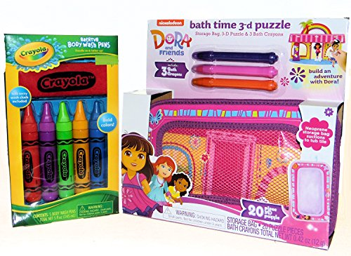 Blue Skies Plus Dora The Explorer Bath Puzzle and Bath Crayons with Storage Bag and Bathtub Body Wash PensGift Set