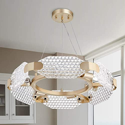 TZOE Crystal Pendant Light Modern Chandelier 6-Light Round Chandeliers,Gold Metal Clear Glass,Crystal Chandelier