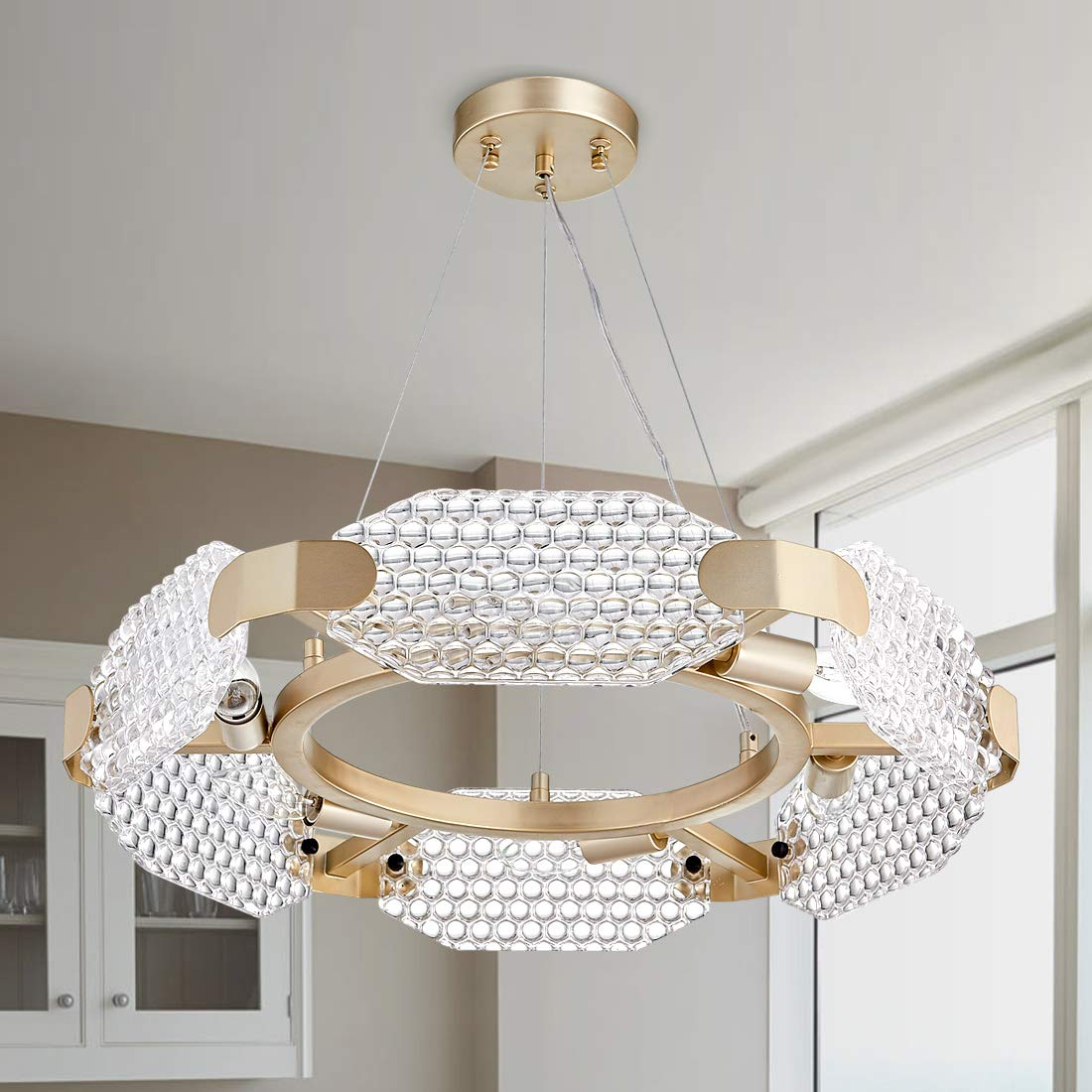 TZOE Crystal Pendant Light,Modern Chandelier,6-Light Round Chandeliers,Gold Metal&Clear Glass,Crystal Chandelier for Kitchen Island,Foyer,Dining Rooms,Bedroom,Liveing Room,Width 22.4 Inch