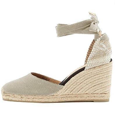 5193340cdc21e9 Minetom Femme Sandale Ouverte Plateforme, Chaussure Bohême Bride Arrière  Sandales Talons Hauts Compensés Beige EU