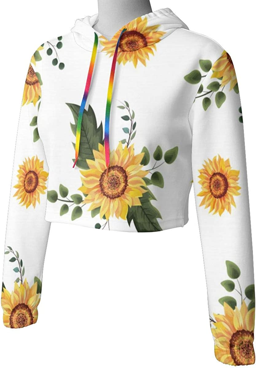 Floral Spring Sunflowers Womens Long Sleeve Letter Print Casual Sweatshirt Crop Top Hoodies