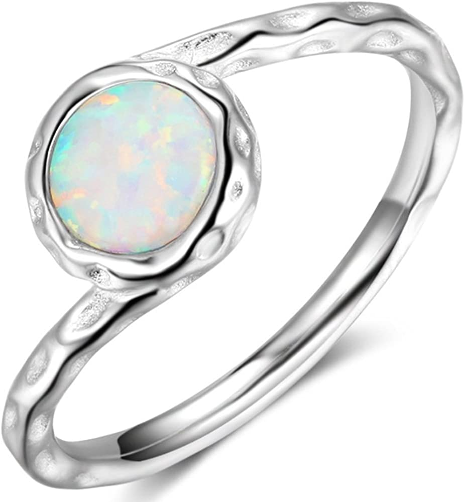 925 Sterling Silver Fire Opal Wedding Engagement Classical Solitaire Ring