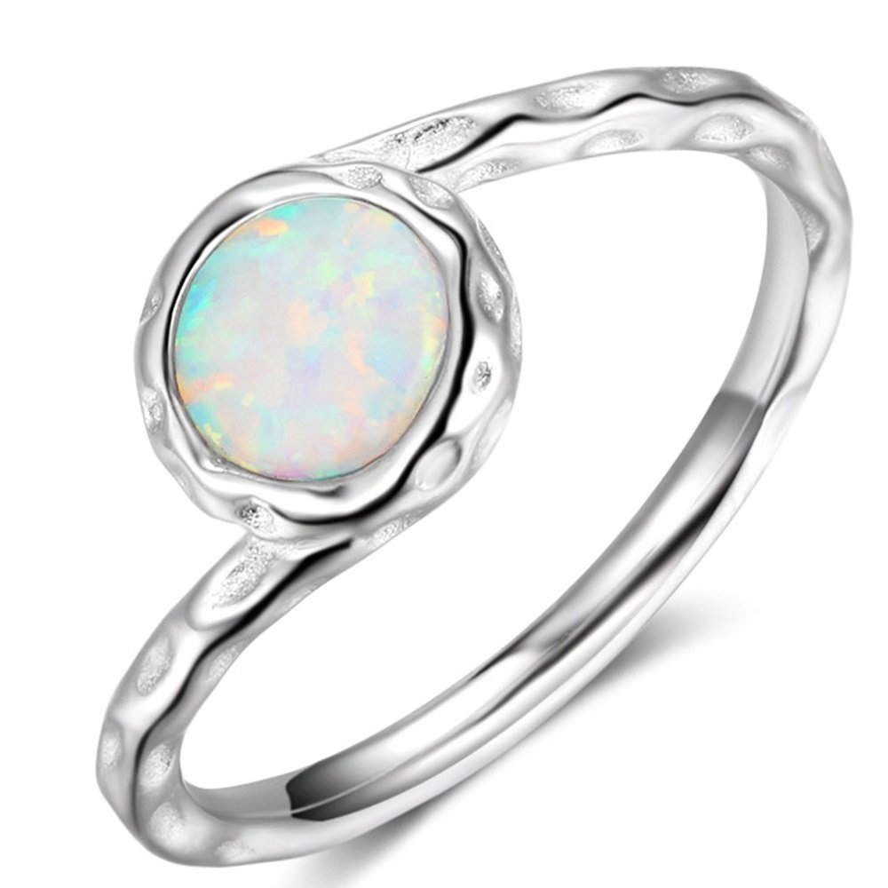 Jude Jewelers Platinum Plated Hammered Created Opal Wave Solitaire Wedding Engagement Ring