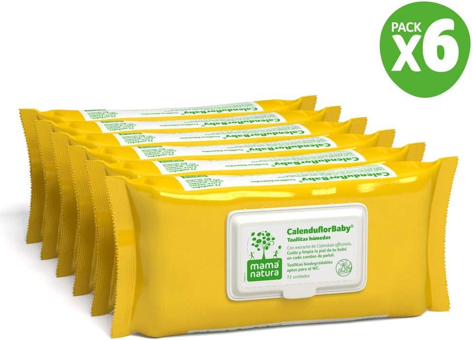 Mama Natura CalenduflorBaby, Toallitas húmedas Bebé, Biodegradables con Extracto Caléndula officinalis, 2 packs x 72 Uds. (144 unidades) - Aptas para el WC (PACK2-TOALLITAS1): Amazon.es: Bebé