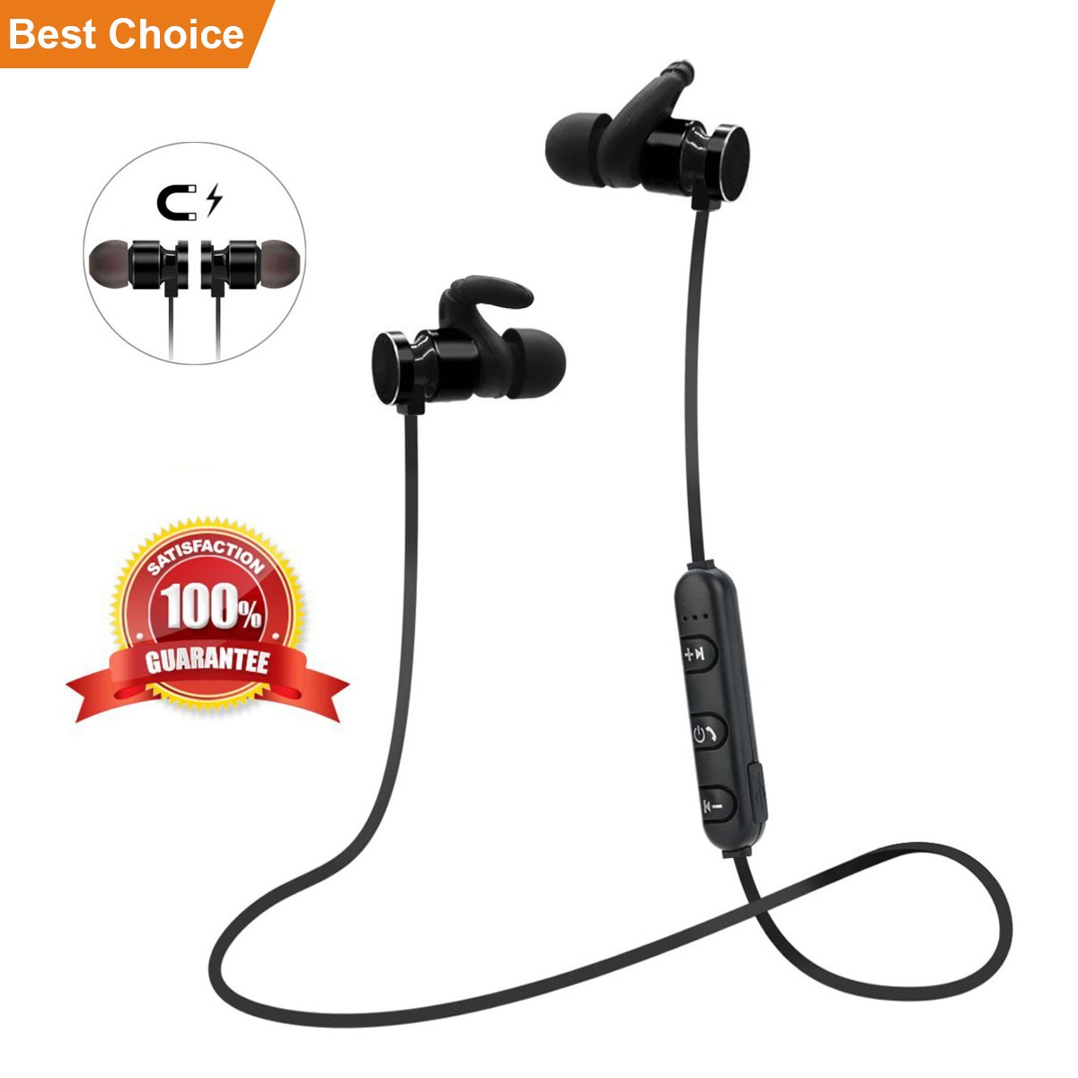 Wireless Bluetooth Headsets;SquRod Mini Metal Magnetic Necklace Earphone Noise Cancelling w/Mic Sweatproof Sport Workout Headphone for iPhone (Battery Upgrade 2018 Versoin)(Black)