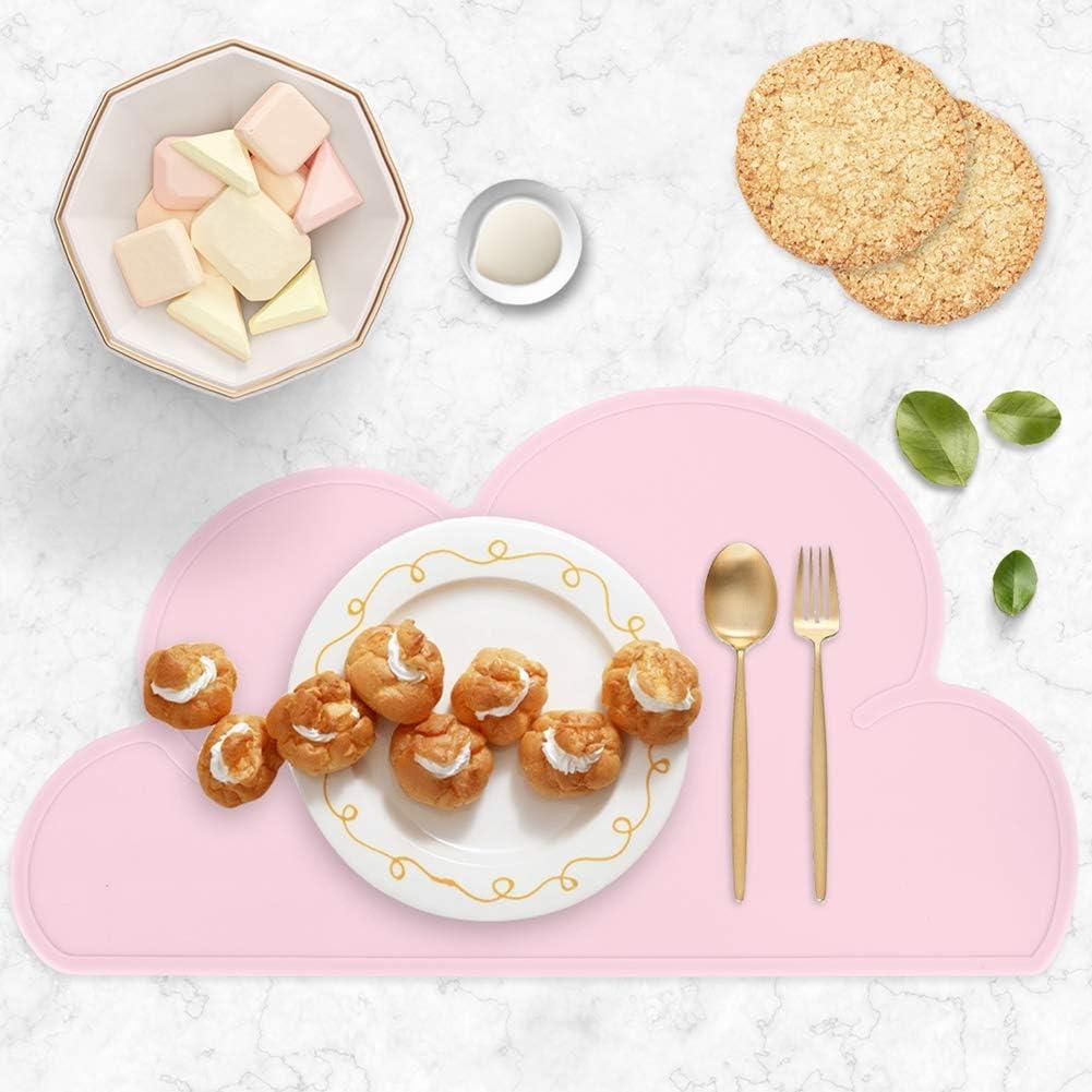 Vaisselle Table Tapis pour tout-petits dgaf/&bae 2PCS Set de table en silicone pour enfants Portable Antid/érapant forme de nuage enfants 48 /× 27 cm nourrisson Rose+Gris