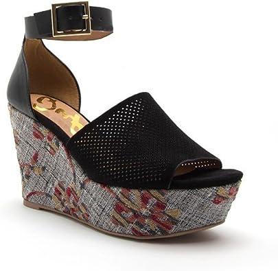 Black Floral Wedge Ankle Strap Sandals