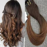 "Full Shine 18"" 7 Pcs 100 Gram Ombre Straight Full Head Clip in Human Hair Extenaion Dip and Dyed Ombre Color #4 Dark Browm to Color #30 Auburn Brown"