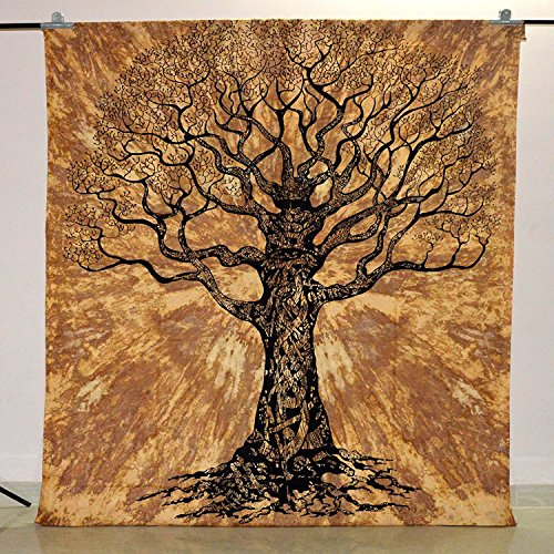 Radhy Krishna Fashions Indian Hippie Tapestry Tree of Life Wall Hanging Bohemian Wall Tapestry Dorm Decor Bedding Beach Blanket Throw
