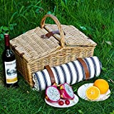 Willow Picnic Basket Set for 2 with Insulated