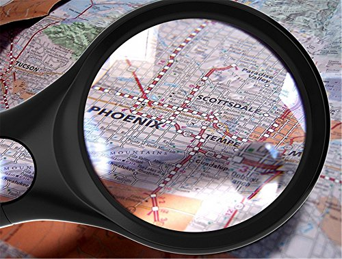 Professional Magnifying Glass [3X and 45x w/3 LED Lights] Handheld Magnifier for Reading Maps - Best for Jeweler Watch Repair - by Diamondback