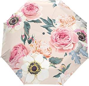 rodde Umbrella Summer Spring Floral Peony Flowers Auto Open Close Sun Rain Umbrella