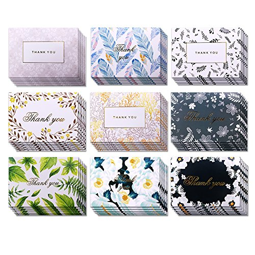 54Pcs Assorted Flower Thank You Greeting Cards with Envelopes Gifts for Christmas Party