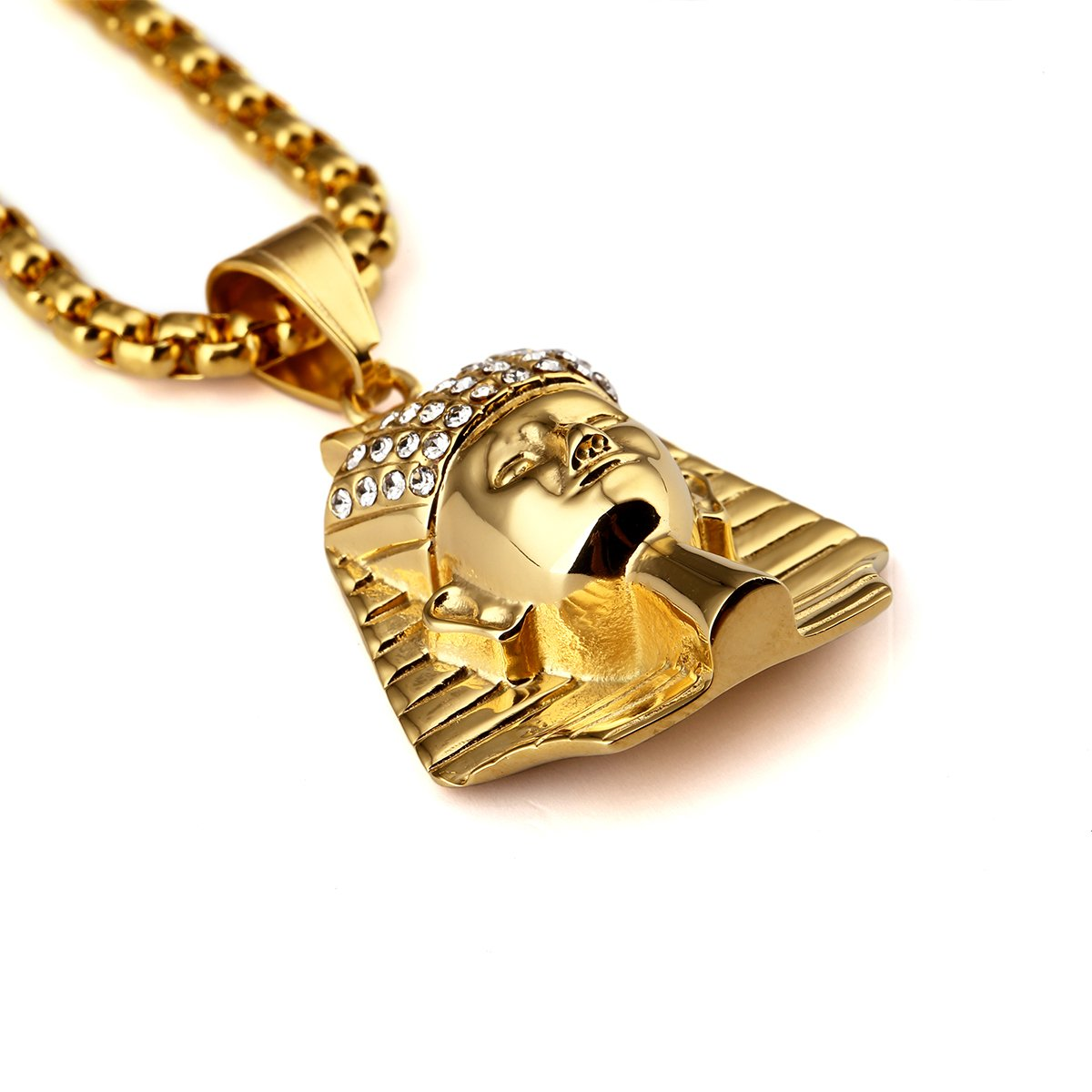 Mens 18KGold Titanium Steel Gold Plated Egypt Pharaoh King Pendant Necklaces Fashion Hip Hop MCSAYS RNA219