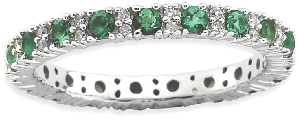 ICE CARATS 925 Sterling Silver Created Green Emerald Diamond Band Ring Size 9.00 Stone Stackable Gemstone Birthstone May Classic Fine Jewelry Gift Set For Women Heart
