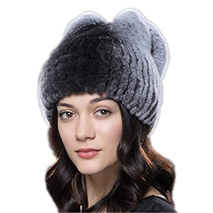 c23def481f9 Women Winter Fur Hat Natural Rex Rabbit Fur Hat Bow Design Fashion Beanies  14