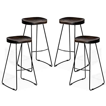 Outstanding Costway Metal Bar Stools Indoor Outdoor Industrial Backless Counter Height Stools W Square Seat Set Of 4 Wood Machost Co Dining Chair Design Ideas Machostcouk