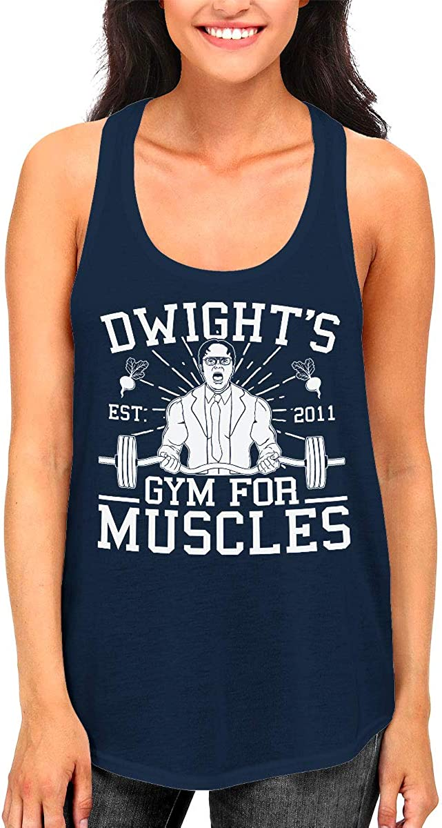 SpiritForged Apparel Dwight's Gym for Muscles Women's Racerback Tank Top